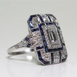 2019 anéis planos de prata designer de jóias anéis de cristal azul jóia para mulheres senhoras anéis do sexo feminino livre quente de moda de transporte