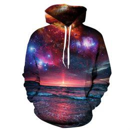 Wholesale Beautiful Hoodies - Galaxy Printed Hoodies Men Women Fashion Style 3d Beautiful Scenery Sunset Pattern Sweatshirts Hooded Tops Unisex Plus Size XXXL