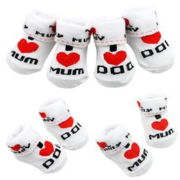 Wholesale Love Cute Baby Boy - Cute Baby Cotton Socks White I Love Mum Dad 0-6 Months Newborn Infant Boys Girls