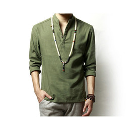 Wholesale Chinese Traditional Style - Summer Mens Linen Cotton Green Khaki Blended Shirt Mandarin Collar Breathable Comfy Traditional Chinese Style Popover Henley Shirts For Men