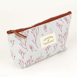 Wholesale Pencil Case Fabric Floral - Vintage Flower Floral Pencil Pen Cosmetic Makeup Gadget Storage bag Case Purse Multi Functional Travel Organizer Handbag