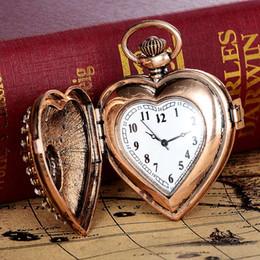 Wholesale Necklace Chain Pocket Watch Heart - Vintage Unisex Pocket Watch Fashion Heart Gemstone Roman Number Dial Quartz Clock Women Man Necklace Pendant With Chain Gifts