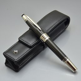 gift cases Coupons - Luxury Christmas Gift - Top High quality John F Kennedy Black Carbon fiber Rollerball pen with MB Brands Serial Number and Real Leather Case