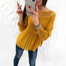 Camisetas sólidas de moda de las mujeres online-Trendy Women T-shirt Solid manga larga plisada Casual cuello redondo Tops jersey Geometría Encaje camisetas una piezas