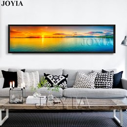 Wholesale large sunset canvas - Nature Canvas Wall Art Landscape Painting Large Sunset Sea Panorama Seascape Decor Picture Panel Boards For Home Room (No Frame)