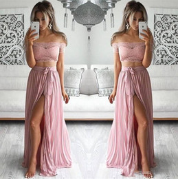 Wholesale Two Sided Belt - Blus Pink Two Pieces Prom Dresses 2018 Off the Shoulder A Line High Split Side with Belt 2 Piece Dress Vintage Lace Evening Party