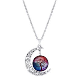 Wholesale tibetan style necklace wholesale - 8 Style Fashion Tree Of Life Glass Cabochon Pendant Necklace Moon Necklaces Accessories Tibetan Silver Chain Statement Necklace H112S