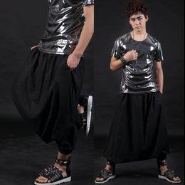 Wholesale Dance Pants Skirts - Stage personality men skirt pants black harem pants men feet trousers singer dance rock fashion pantalon homme culottes