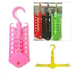 Wholesale hot hangers - Plastic Hangers Multi Function Folding Clothes Rack Colourful Non Slip Coat Hanger Hot Sale 2 1rl C R