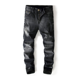 Wholesale Motor Jeans - Black Color Fashion BIEPA Brand Mens Jeans High Street Destroyed Ripped Jeans Homme Dropship Motor Biker Men Pants 8006#