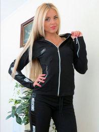 Wholesale Womens Sweats Xl - 2017Hot Sale pink Women's Tracksuits spring style sweat shirt Print tracksuit women Long Pants Pullover Tops Womens set Women Sport Suits