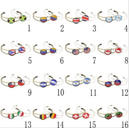 Wholesale cup accessories - World Cup Flag Alloy bracelet Sports Wrist Strap Alloy Buckle football Fans Cmmemorative Gift Fashion Accessories GGA253 120pcs
