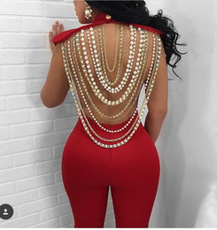 a4cab30e2b0 new arrival bandage jumpsuits NZ - New Arrival Sexy Red Black White  Backless Pearl O-