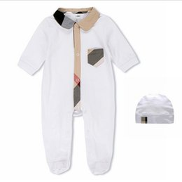 Wholesale Christmas Winter Hats - IN stock 2018 Hot sell new arrivals fall baby kids climbing romper high quality cotton long sleeve Plaid collar spring autumn romper+hat
