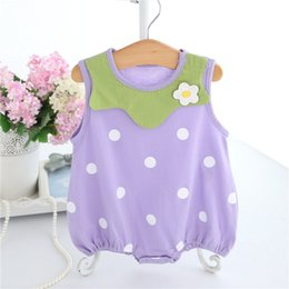 Wholesale High Neck Baby Bodysuit - High quality flower dress cotton summer children clothing Sleeveless baby clothes newborn bodysuit cute baby girl clothes a
