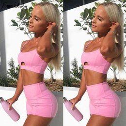 pink crop yoga pants Promo Codes - 2018 New Pink Yoga Set Women Sports Bra Crop Top High Waist Shorts Fitness Outfit Yoga Running Gym Exercise Workout Tracksuit