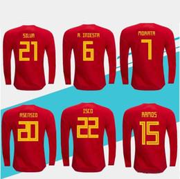 Maillot manches longues espagne en Ligne-Espagne ASENSIO 2018 Coupe du Monde MORATA Espagne à l'extérieur RAMOS maillot rouge Manches longues ISCO A.INIESTA SILVA TOP QUALITÉ Espana football
