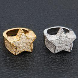 Pietre del ghiaccio online-Anello placcato oro colore moda uomo anello esagerato alta qualità ghiacciato out cz pietra a forma di stella anello gioielli