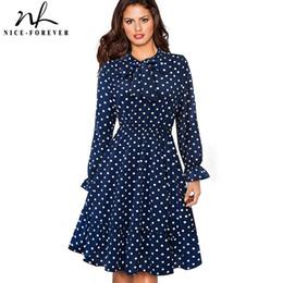 abito di polo pinup Sconti Nizza-per sempre Elegante Vintage Polka Dots Pinup Bow abiti Business Party femminile Flare A-Line Swing Women Dress A130