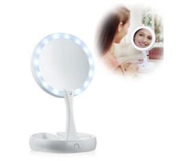 Pantalla de la lámpara led online-My Fold Away LED iluminado Espejo de maquillaje de doble cara USB iluminado Vanity Mirror Touch Screen Lámpara portátil de mesa