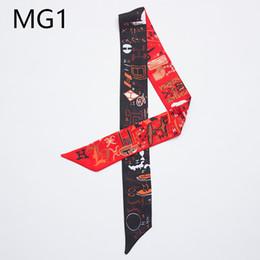 Sacchetti di bambù online-10 design borsa a mano sciarpe donne piccola sciarpa di seta fazzoletto nastro della fascia del fazzoletto da collo colorato lettera stampa maniglia borsa nastro sciarpe avvolge