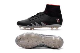 Wholesale Coffee Spring - New Soccer Cleats 2018 Neymar JR Hypervenom Phantom II TF Soccer Boots Coffee Black Football Shoes CR7 Soccer Cleats Indoor Shoes