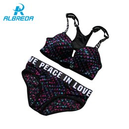 Wholesale Red Sexy Bra Panty Sets - ALBREDA Women Sexy Push Up Bra Sets High Quality Running Yoga Sports Bra Set Adjustable Underwear Panty Suits Brassiere Lingerie