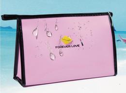 Corea bolsas mujer online-Venta caliente para siempre amor mujeres bolsa de Cosméticos de Corea pequeño almacenamiento a prueba de agua femenino bolso de embrague portátil de dibujos animados de viaje bolsa de maquillaje bolsa de lavado