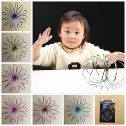 Wholesale cool funny - 9colors Flow Rings 3D Kinetic Sensory Interactive Cool Toys For Kids Adults Funny magic ring Stainless Steel Toy GGA81 50PCS
