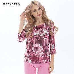 Wholesale Woman Flower Print Shirt Vintage - MS VASSA New T-shirt Summer Spring Women Tees three quarter sleeve O-neck plus size vintage flower print casual women tops