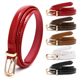 Wholesale Candies Apparel - Candy Color Metal Buckle Thin Casual Belt For Women , Leather Belt Female Straps Waistband For Apparel Accessories