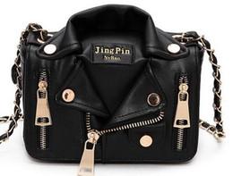 Wholesale Leather Jackets Bag Women - New European Brand Designer Bag Chain Motorcycle Shoulder Rivet Jacket Bags Messenger Bag Women Leather Handbags for Cool Girls