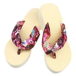 Wholesale Casual Wedge Slippers Sandal Shoes - 2018 Ulrica Free shipping HIgh Quality Wedge Platform Thong Flip Flops Sandals Shoes Beach Casual Slippers