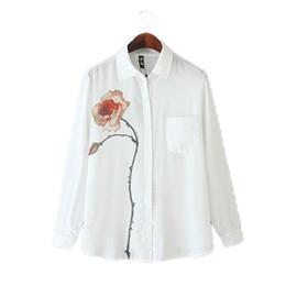1f6bc8b023026 China Fashion Big Rose printed blouse women Turn Down Collar White shirt  summer Office ladies top