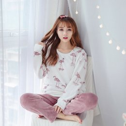 e94d4b0f83 2018 New winter women pajamas Flamingo set long sleeve long trousers coral  fleece warm pyjamas Flannel Clip Cotton home clothing