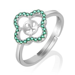 Wholesale Green Clusters - Elegant 1 Piece 925 Sterling Silver Adjustable Shamrock Shape Mountable Pearl Ring with Green Zircons, For Women (NO Pearl)