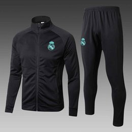 Wholesale Microfiber Suits - 17 18 Real Madrid soccer jacket long Real madrid Man soccer chandal football tracksuit Adults training suit skinny pants Sportsw
