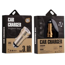 Wholesale ipad usb camera - 3.1A dual USB car charger Round Aluminum Alloy Metal Safety Hammer Charger Adapter For iphone ipad samsung gps digital camera with box