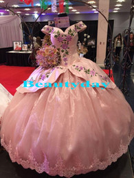размер корсет розовый Скидка Розовое бальное платье Quinceanera Платья Сладкие 16 платьев Корсет Назад Дебютантка Платья Вышивка Плюс Размер Vestidos De 15