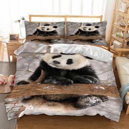 Wongs biancheria da letto carino panda 3d copripiumino Set trapunta copripiumino Set 3 pezzi doppia regina king size tessili per la casa cheap panda bedding sets queen da reggiseno di seta panda regina fornitori