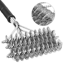 Wholesale wire cleaning brush - Stainless Steel Barbecue Grill Cleaner Brush Three Wire Spring With Handle Durable Non-stick Cleaning Brushes BBQ Tools AAA385