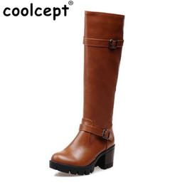 Canada Femmes à talons hauts sur les bottes au genou mode hiver neige chaud moto longue botte plate-forme qualité chaussures chaussures taille 32-43 supplier motorcycle over knee boots Offre