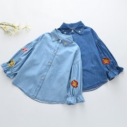 Wholesale Chiffon Kids Ruffle Tops - Everweekend Kids Girls Floral Embroidered Denim Tees Ruffles Vintage Blue Color Sweet Children Baby Kids Spring Autumn Tops