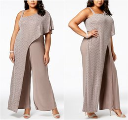 plus size winter jumpsuits Coupons - 2019 R&M Richards Mother Of The Bride Dresses One Shoulder Sequins Drape Jumpsuits Chiffon Pants Plus Size Mother's Wedding Guests Suits