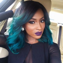 Wholesale Blue Bob Wig - Ombre Lace Front Human Hair Wigs BOB T1b Sky Blue Malaysian Virgin Hair Two Tone Full Lace Wigs Natural Hairline With Baby Hair