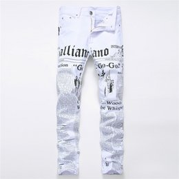 Wholesale Newspaper Letters - Jeans men 2018 spring joggers with the newspaper panttern hip hop style mid waist straight full length plus size 28-42