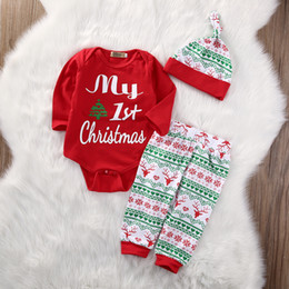 baby clothes set Promo Codes - My First Christmas 3PCS Cute Baby Boys Girls Xmas Red Romper Tops Long Sleeve Pants Legging Hat Outfit Clothes Sets Hot Sale