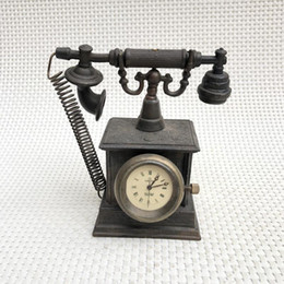 téléphone européen antique Promotion Montres Western Vintage, montre mécanique en cuivre, montre de téléphone européenne, décoration de la maison antique, décoration