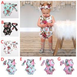 Симпатичные детские повязки онлайн-7 стилей лето девочка комбинезон довольно цветок кисточкой комбинезон + повязка на голову 2 шт. Новорожденных девочек одежда цветочные комбинезоны детские девушки комбинезон наряды