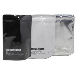 Wholesale translucent square plastic - Wholesale 100pcs Lot Stand Up Underwear Packaging Plastic Bag Zip Lock Translucent Convenient Travel Storage Resealable Poly Bag